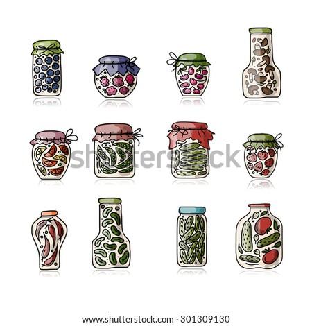 Bank of pickled vegetables, sketch for your design. Vector illustration - stock vector