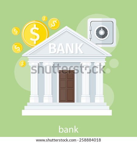 Bank office symbol with ATM dollars and safe icon. Banking concept in flat design - stock vector