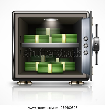 Bank open safe with dollars on white, vector illustration - stock vector