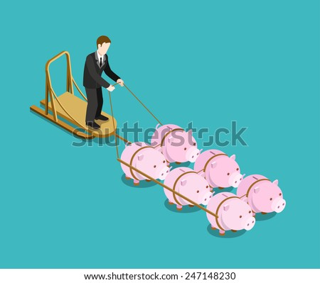 Bank owner, investor, multi investment target flat 3d web isometric infographic concept vector. Businessman drives pig sleds. Creative people financial monetary piggy bank savings collection. - stock vector