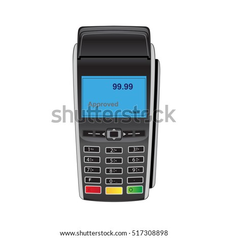 Bank payment terminal. POS terminal. Payment machine. Credit card reader.