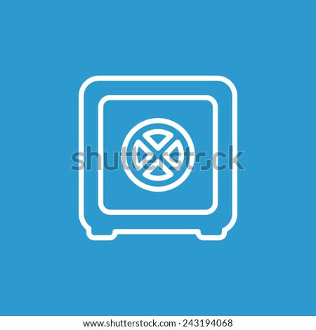 bank safe outline icon, isolated, white on the blue background. Exclusive Symbols  - stock vector