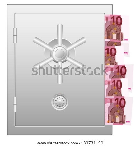 Bank safe with ten euro banknotes. Vector illustration.