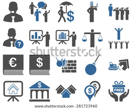 Bank service and people occupation icon set. These flat bicolor symbols use cobalt and gray colors. Vector images are isolated on a white background. Angles are rounded. - stock vector