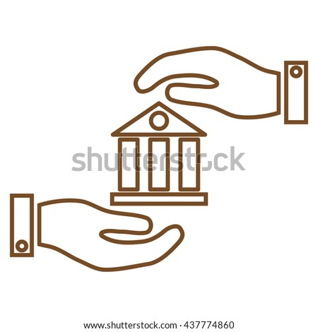 Bank Service vector icon. Style is stroke flat icon symbol, brown color, white background.