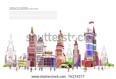 bank street illustration - stock vector