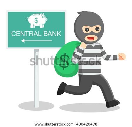 Bank thief illustration - stock vector
