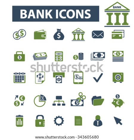bank, trading, finance, money, check concept  icons, signs vector set for infographics, mobile, website, application