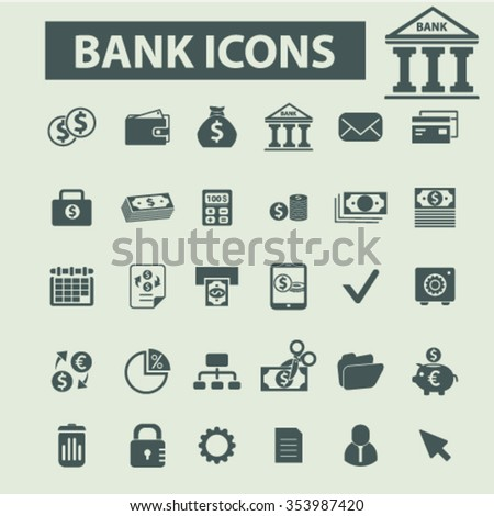 bank, trading, finance, money, check icons