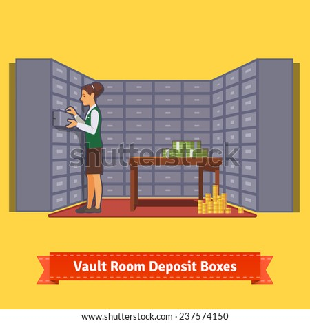Bank vault room with a clerk working with safe deposit boxes. Flat style illustration. EPS 10 vector. - stock vector