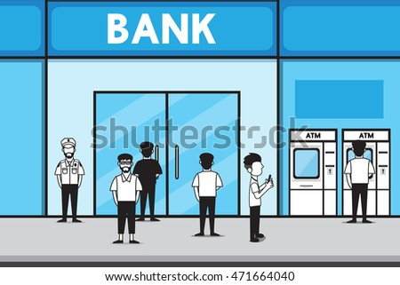Bank vector cartoon design.
