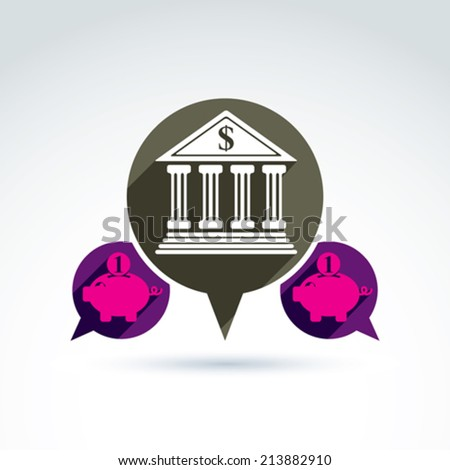 Bank versus Piggybank credit and deposit money theme symbol, vector conceptual special icon for your design. - stock vector