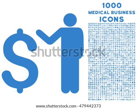 Banker vector icon with 1000 medical business icons. Set style is flat pictograms, cobalt color, white background.