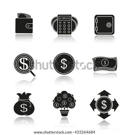 Banking and finance drop shadow black icons set. Wallet with cash, calculations, bank vault, investment search, us dollar coin and banknotes stack, money bag and tree. Isolated vector illustrations - stock vector