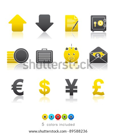 Banking and Finance icon set 18 - Multi Color Series.  Icon set in EPS 8 format with high resolution JPEG EPS file contains five color variations in different layers - stock vector