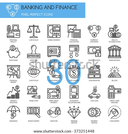Banking and Finance , thin line icons set - stock vector