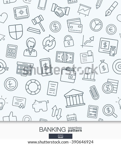 Banking and finance wallpaper. Black and white bank seamless pattern. Tiling textures with thin line web icons set. Vector illustration. Abstract background for mobile app, website, presentation. - stock vector