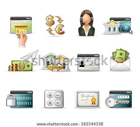 Banking and On-Line Transaction - Professional Icon Set - stock vector
