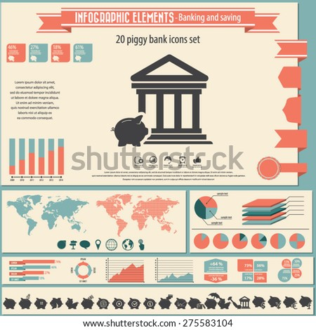 Banking and savings - infographic elements and icons set. - stock vector
