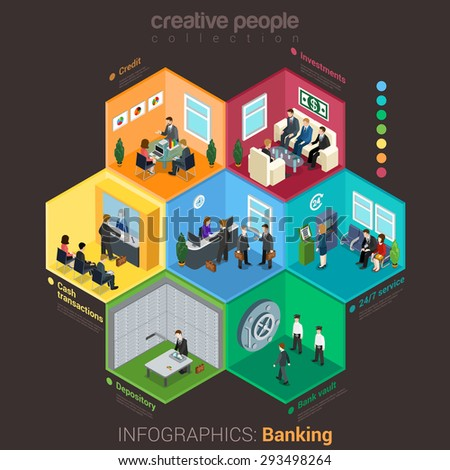Banking bank finance infographics flat 3d isometric style. Interior room cell customer client visitor staff concept vector. Credit investment cash depository vault. Creative business people collection - stock vector