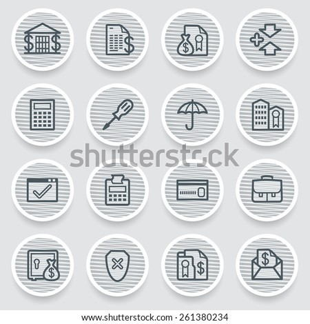 Banking black icons on gray stickers. - stock vector