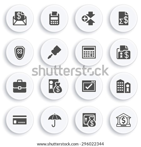 Banking black icons on white buttons. Flat design. - stock vector