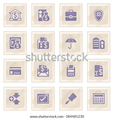 Banking blue icons on old paper. - stock vector