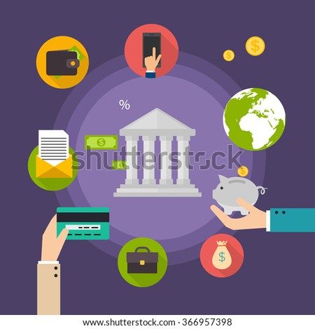 Banking concept. Set of flat icon banking, finance operations, payment,  credit cards, wallet and cash money. Flat style vector illustration. - stock vector
