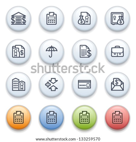 Banking contour icons on color buttons. - stock vector