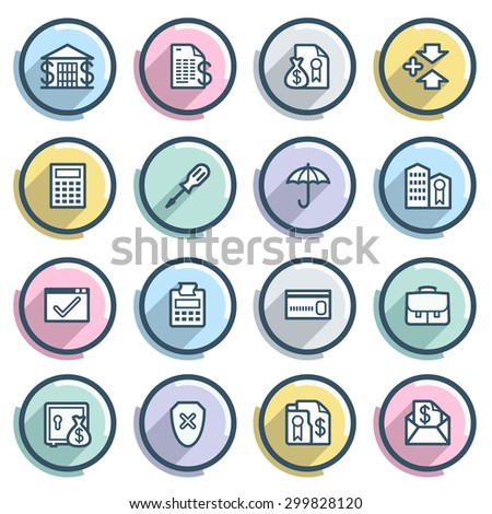 Banking contour icons on color buttons. Flat design. - stock vector