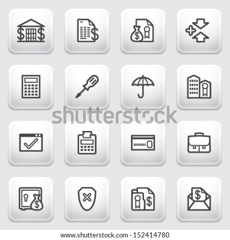 Banking contour icons on gray background. - stock vector