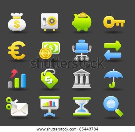 Banking,Finance,business, money icon set | Dark series - stock vector