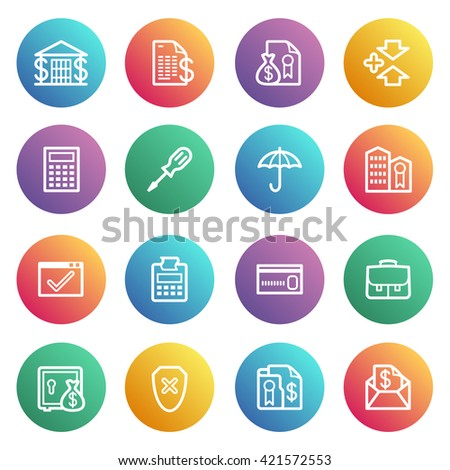 Banking flat contour icons on color stickers.