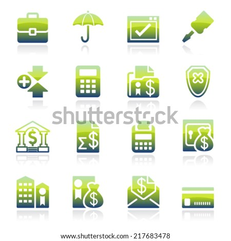 Banking green icons. - stock vector