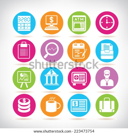 banking icons, colorful circle buttons set - stock vector