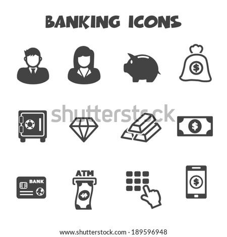 banking icons, mono vector symbols - stock vector