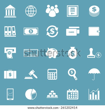 Banking icons on blue background, stock vector - stock vector