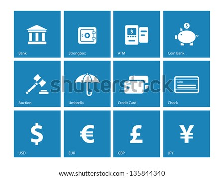 Banking icons on blue background. Vector illustration. - stock vector