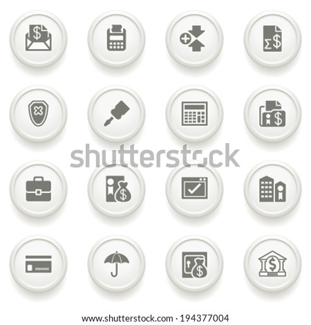 Banking icons on gray buttons. - stock vector