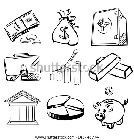 banking icons sketch collection  cartoon vector  illustration