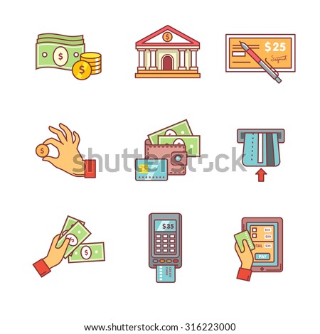 Banking icons thin line set. Currency operations, bank building, check, wallet and credit card, paper cash and coins in hands, pos machine. Flat style color vector symbols isolated on white. - stock vector