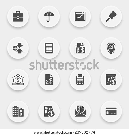 Banking icons with buttons on gray background. - stock vector