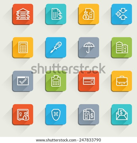Banking icons with color buttons. - stock vector