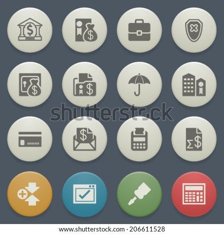 Banking icons with color buttons on blue background. - stock vector