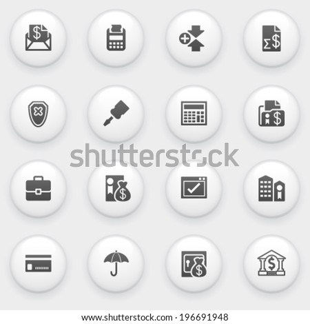 Banking icons with white buttons on gray background. - stock vector
