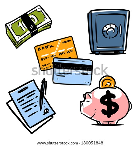 banking illustration icons set 1 - stock vector