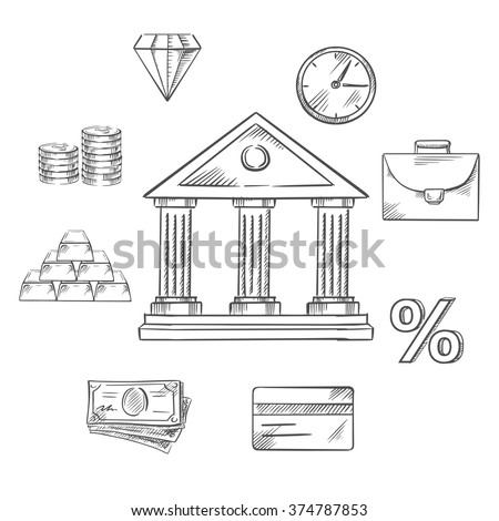 Central bank stock images royalty free images vectors banking infographic elements with central bank building encircled with icons of money gold bullion publicscrutiny Image collections