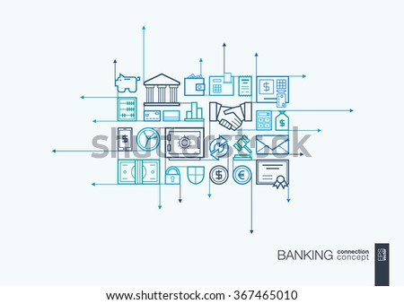 Banking integrated thin line symbols. Motion arrows vector concept, with connected flat design icons. Abstract background illustration for network, money, card, bank, business, finance concepts - stock vector
