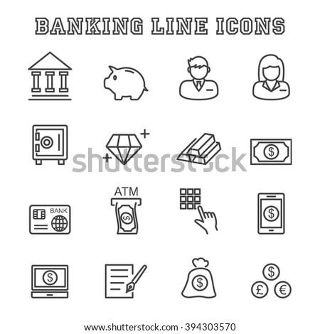 banking line icons, mono vector symbols - stock vector