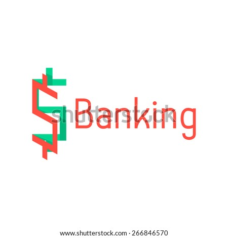 banking logotype with red and green abstract sign. concept of corporate credit, e-commerce, deposit, abundance, economy, usd mark, finance sector. flat style modern design eps10 vector illustration - stock vector